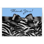 Black and Baby Blue Zebra Thank You Cards
