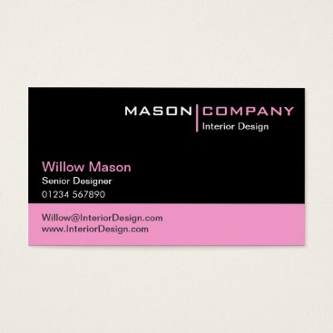 Professional Business Black and Baby Pink Corporate Business Card