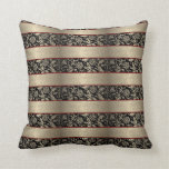 Black And Beige Floral Damasks With Stripes Pillows