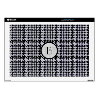 """Black And Beige Pied-De-Poule HoundsTooth Pattern Skin For 17"""" Laptop"""