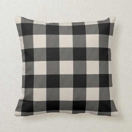 Black And Beige Decorative Pillows : Black and Beige Preppy Buffalo Check Plaid Throw Pillow Zazzle