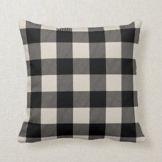 Black and Beige Preppy Buffalo Check Plaid Throw Pillow