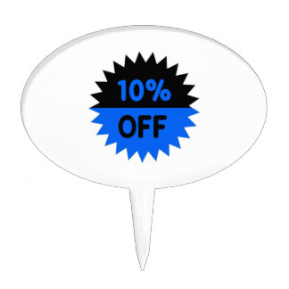 Black and Blue 10 Percent Off Cake Topper
