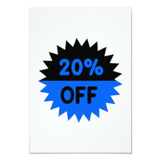 Black and Blue 20 Percent Off Invitations