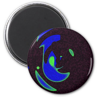 Black and BLue 2 Inch Round Magnet