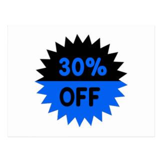 Black and Blue 30 Percent Off Postcard