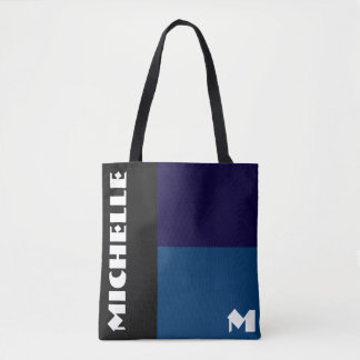 Black and Blue 3 Tone Monogram Tote Bag