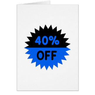 Black and Blue 40 Percent Off Card