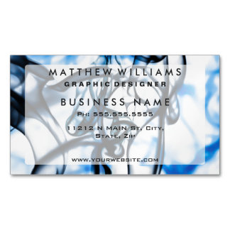 Black and Blue Abstract Smoke Pattern Business Card Magnet