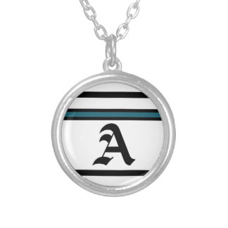 Black and Blue Accented Monogram Necklace