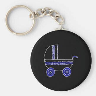 Black and Blue Baby Stroller. Keychain