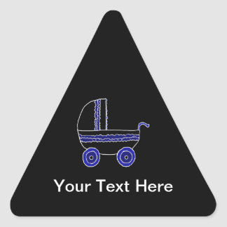 Black and Blue Baby Stroller. Triangle Sticker