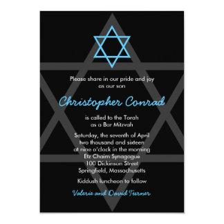 Black and Blue Bar Mitzvah Invitation