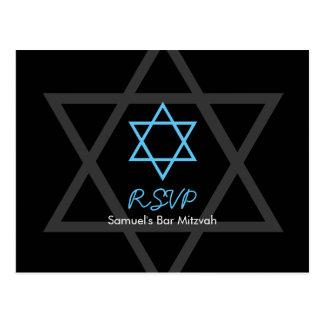 Black and Blue Bar Mitzvah RSVP Postcard