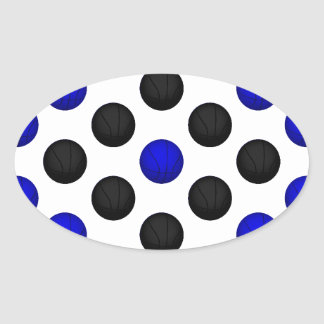 Black and Blue Basketball Pattern Oval Sticker