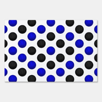 Black and Blue Basketball Pattern Sign