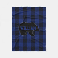Black and Blue Buffalo Check Bear Monogram