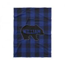 Black and Blue Buffalo Check Bear Monogram Fleece Blanket