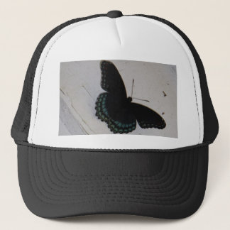 Black and Blue Butterfly on white washed wood Trucker Hat
