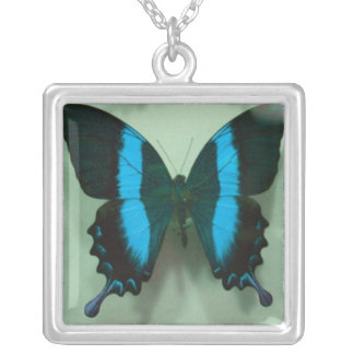 Black and Blue Butterfly Square Pendant Necklace
