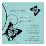 Black and Blue Butterfly Wedding Invitation