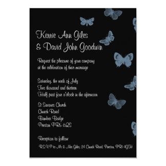 Black and Blue Butterfly Wedding Invitations
