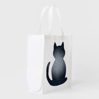 Black And Blue Cat CrystalKatz Totes Grocery Bag