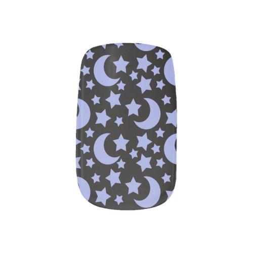 Black and Blue Celestial Night Sky Pattern Design Minx ® Nail Wraps