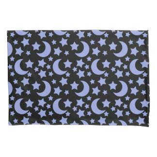 Black and Blue Celestial Night Sky Pattern Design Pillow Case