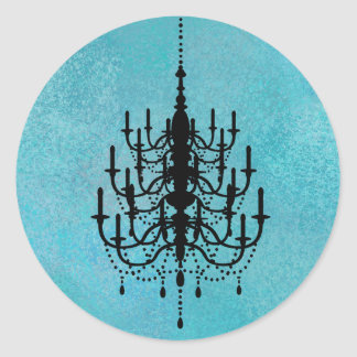 Black and Blue Chandelier Wedding Seal Classic Round Sticker