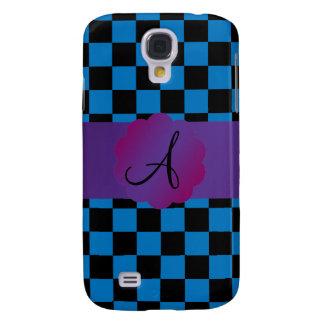 Black and blue checkers monogram samsung galaxy s4 case