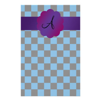 Black and blue checkers monogram stationery