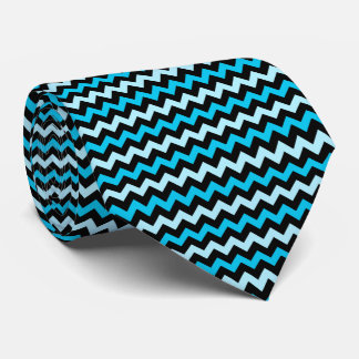 Black and blue chevron pattern tie