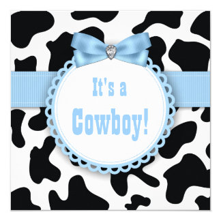 Black and Blue Cowboy Baby Boy Shower Card