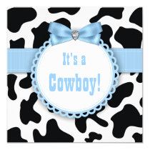 Black and Blue Cowboy Baby Boy Shower Invitation