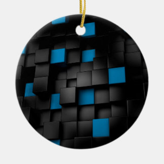 Black and Blue cubes Ceramic Ornament