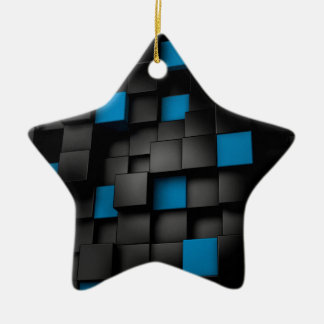 Black and Blue cubes Christmas Ornaments