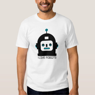 Black And Blue Cute Robot-I Love Robots Shirt