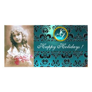 BLACK AND BLUE  DAMASK Aquamarine Monogram Picture Card