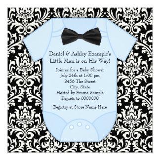 Black and Blue Damask Baby Boy Shower Invite