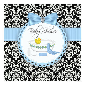 Black and Blue Damask Bath Time Baby Shower 5.25x5.25 Square Paper Invitation Card