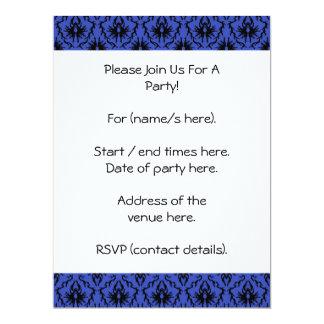 Black and Blue Damask Design Pattern. Card