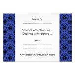 Black and Blue Damask Design Pattern. Custom Invitations