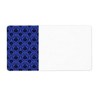 Black and Blue Damask Design Pattern. Shipping Label