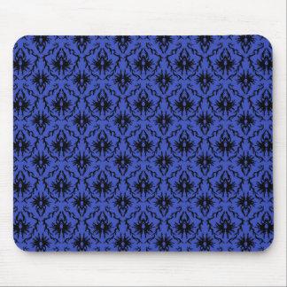 Black and Blue Damask Design Pattern. Mouse Pad