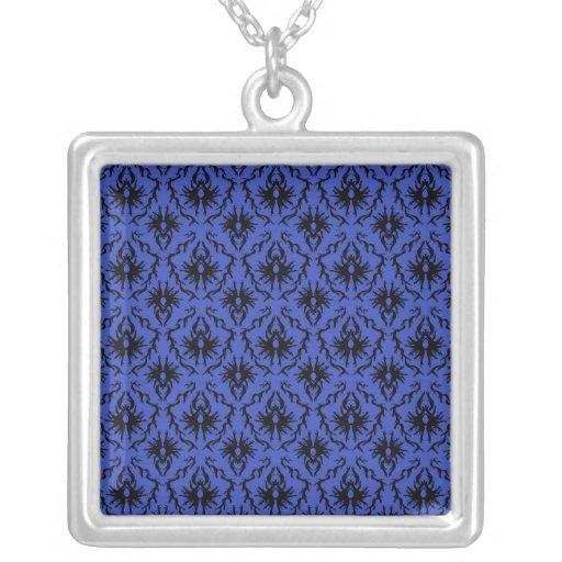 Black and Blue Damask Design Pattern. Necklace