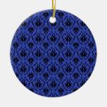 Black and Blue Damask Design Pattern. Christmas Ornament