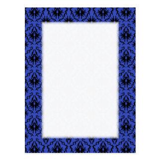 Black and Blue Damask Design Pattern. Postcard