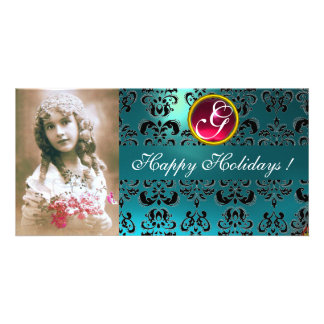 BLACK AND BLUE DAMASK Red  Pink Ruby Monogram Photo Card Template