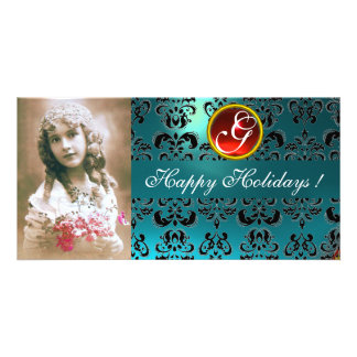 BLACK AND BLUE DAMASK Red Ruby Monogram Card